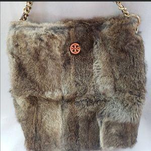 Tory Burch Fur hobo bag gold TB logo chain handle